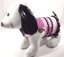Dog Pet Clothes Harness SZ SM 4.5 to 6 LBS NEW Handmade Girl Pink & Black Print