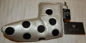 NWT JUST4GOLF Golf Blade Putter Cover Metallic Silver Black Polka Dot