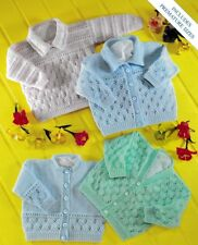 Baby Toddler Cardigans and Jumper Knitting Pattern 4 Ply Includes Premature size