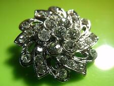 LOVELY SPARKLY SILVER TONE DIAMANTE DESIGN PIN BROOCH CORSAGE  #22