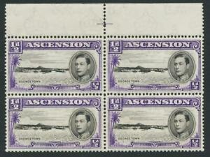 """ASCENSION 1938, ½d """"LONG CENTRE BAR IN E"""" BLOCK, MLH SG#30 CAT£345 (SEE BELOW"""