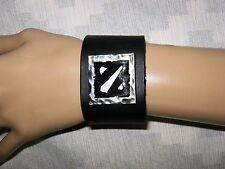 "X Emblem~ 1 1/2"" x 9 1/4"" Handmade~ Black Leather Cuff Bracelet~ Fits 6""-7""~"