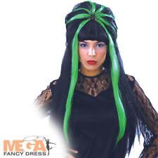 SPIDERELLA Nero e Verde Parrucca Donna Halloween Gotico Costume Accessorio