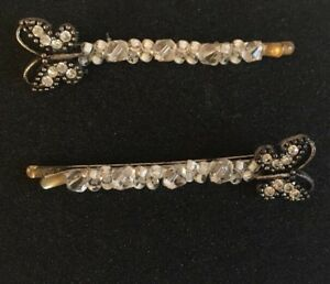 Butterfly Hair Pins, Costume Jewelry, Silver, Crystal