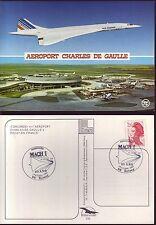 4739+  CARTE POSTALE  CONCORDE  AIR   FRANCE AEROPORT CHARLES DE GAULLE OBLITERE