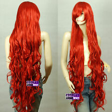 120cm Dark Red Extra Long Curly Cosplay Wigs Seamlessly Contours  3A_135