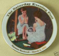 Saturday Evening Post Norman Rockwell Mini Collector Plate Girl at the Mirror