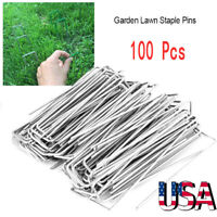 "100Pcs 6"" Landscape Staples SOD Staples Garden Stakes Weed Barrier Pins Pegs"