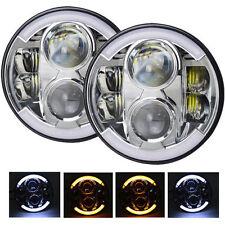"2x 7"" 80W Round Projector LED Headlights w/ DRL For Jeep 97-2016 Wrangler JK TJ"