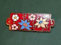 Schöne antike EMAILLE auf Tombak-BROSCHE floral ~1920 • Blumen emailliert