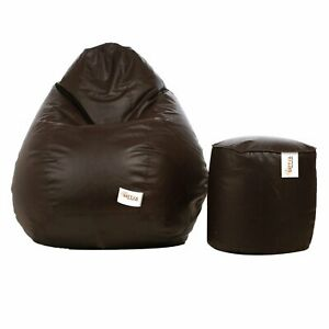 Bean bag Leatherette Chair without Bean & footrest Brown Luxuries Home Gift