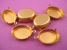 Brass Oval Prong Settings 18x13 1 Ring closed Backs - 18 Pieces