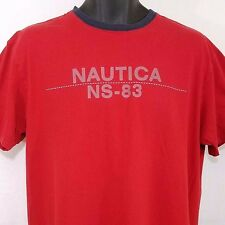 Nautica NS-83 T Shirt Vtg 90s Spell Out Sailing Red Mens Size Medium