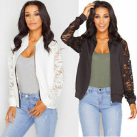 Plus Size Womens Floral Crochet Sleeve Zip Biker Bomber Jacket Coat Outwear Tops