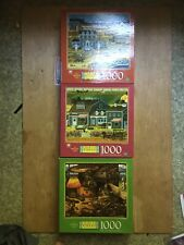 Lot Of 3 Charles Wysocki Jigsaw Puzzles 1000 Pieces Hasbro Great All Complete