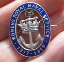 More details for womens royal navy naval service 1917-1919 ww1 hmk silver pin brooch badge