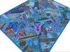 Handgefertigte Patchworkdecke Türkis Blau Quilt Wandbehang Bettüberwurf Indien T