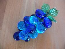 MURANO VENETIAN WIRED BLUE GLASS GRAPES.