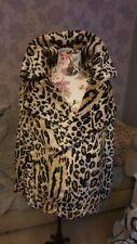 Womens pretty little thing Fur Leopard Print Coat Jacket Bnwt Rrp £76 Size Uk 12
