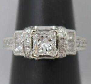 IGI Cert. 14K White Gold ~ 1 Ct Princess Cut *SI1 / I* Diamond Engagement Ring