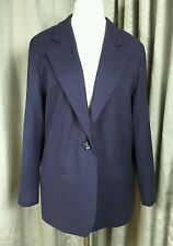 Navy Blue 100% Pure New Wool Jacket Blazer by Sag Harbour Petite UK14 EU42