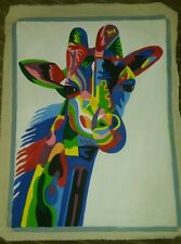 Stunning multi colour giraffe african hand painted canvas indoor outdoor art