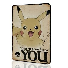 """Wall Sign """"Pokemon"""" Your Pikachu Needs You Tin Art Vintage Special Poster"""