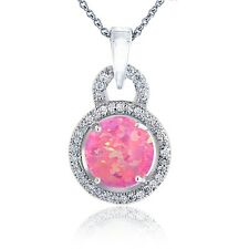 Sterlingsilber Künstlicher Pink Opal & Cubic Zirkonia Runde Halskette