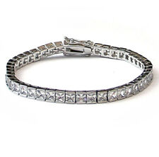 Platinum Plated 4mm CZ Square Cut Tennis Bracelet High Quality - 20.5cm long