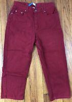 Liz Claiborne Lizwear Jeans Womens Classic Fit Stretch Size 12 Actual 28x23 Red