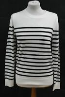HOBBS Ladies Merino Wool Top Striped Penny Sweater Ivory White Jumper Small NEW