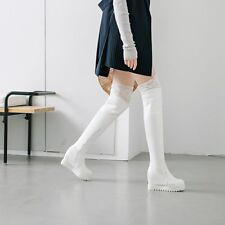 Womens Lace Fur Lined Warm Winter Over The Knee Boots Fashion Riding Boots Shoes