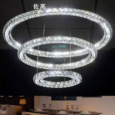 Led 3 Sides Crystal Ceiling Lamp 3 Rings Chandelier Fixture Pendant Lighting