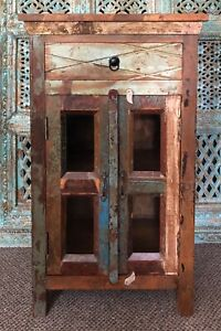 Indian Reclaimed Teak Wooden Glass Cabinet, Furniture, Home and Living