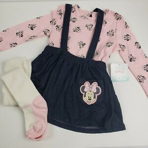 DISNEY Baby Girl Minnie Mouse 3 Piece Set Dress Long Sleeve Top Tights Pink Blue