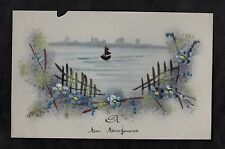 C1916 French plastic card - Sailing boat on a lake
