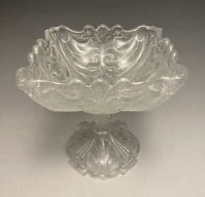 Antique Portieux Vallerysthal French Art Glass Clear Bullicante Compote Scarce