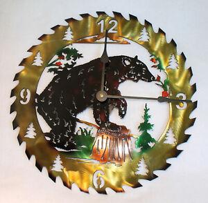 "Black BEAR Clock Circular Saw Blade Hand Painted Metal Wall Art 14"""