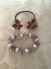 Floral Bracelet & Butterfly Bracelet Lovely Unusual Ornate Copper And