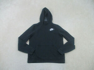 Nike Sweater Youth Extra Large Black Swoosh Hooded Hoodie Pullover Kids Boys B36