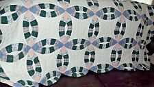 """Handmade Lap Quilt--WEDDING RING DESIGN--40 x 60"""" GREAT WALL HANGING TOO!!"""