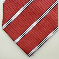 BNWT Renato Balestra RB Red Salmon White Striped Silk Tie Made in ITALY SUPER