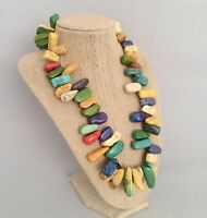 VINTAGE Natural Polished Multicolor Stone Beaded Necklace-20in-CHUNKY & HEAVY!