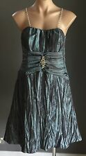 Mesmerising MR K Iridescent Green Chain Strap Pleated Empire Waist Dress Size 12
