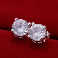 6 PACK SET Surgical Steel Crystal Ear Stud Earrings Cubic Zircon Round for Men