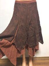 COMPLETO LINO by ARTHURIO size S - M 100%LINEN Skirt Asymmetric Checked Brown