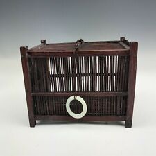 Antique Chinese Natural Jade & Bamboo Wood Cricket Bug Insect Cage Box QEN NR