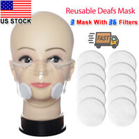 3pcs Clear Face Mask & 36pcs Filter Mouth Nose Protective Cover PM2.5 Respirator