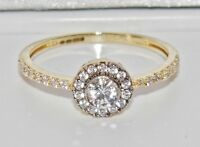 UK Hallmarked 9ct Yellow Gold 0.50ct Halo Cluster Ladies Engagement Ring size L