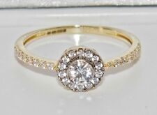 UK Hallmarked 9ct Yellow Gold 0.50ct Halo Cluster Ladies Engagement Ring size P